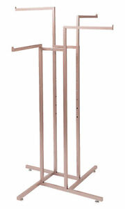 4 way Clothing Rack Rose Gold Straight Arm Garment Retail Display 48 72 H