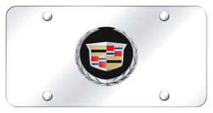 Cadillac Logo Chrome On Mirror Polished Chrome License Plate Official Licensed