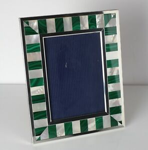 Kirk Stieff Sterling Silver Mother Of Pearl Malachite Photo Frame 6 X 4