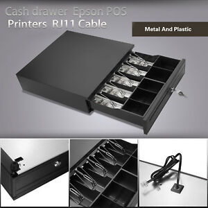 16 5 Bill 5 Coin Cash Register Drawer Boxes W removable Tray Pos Printers Black