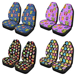 Car Front Bucket Seat Covers Set Auto Protector 2 Pack Universal Cartoon Owl