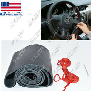 Car Steering Wheel Cover Black Red Stitching Leather 15 With Needles Thread