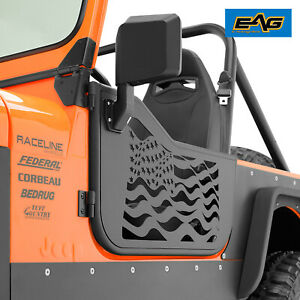 Eag Tubular Door Us Flag With Side Mirror Fit For 1976 1995 Jeep Cj7 Yj Wrangler