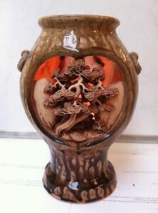 Beautiful Vintage Japanese Or Chinese Pottery Vase Or Candle Holder Lamp
