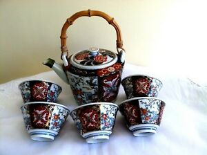 Beautiful Vintage Japanese Imari Hand Painted Teapot 5 Cups Signed By Artist