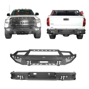 Front Bumper Rear Bumper Bar W Winch Plate Led Lights For Toyota Tundra 14 20