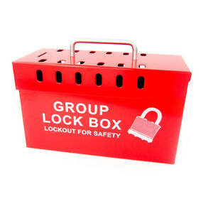 Zing 7299r un Red Steel Group Lockout Box 13 Padlock Capacity