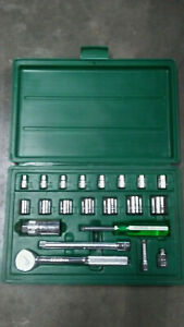 Sk 3 8 Drive Ratchet And 3 8 Drive And 1 4 Drive Socket Set With Case