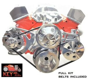 Small Block Chevy Polished Aluminum V belt Front Drive System Pulley Belts 350