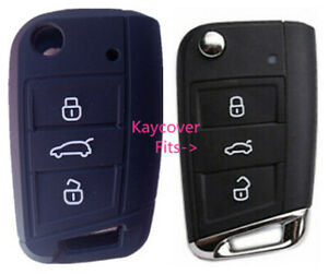 Black Silicone Car Flip Key Cover For Vw Volkswagen Mk7 Golf
