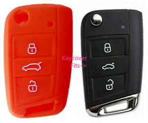 Orange Silicone Car Flip Key Cover For Vw Volkswagen Mk7 Golf