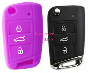 Purple Silicone Car Flip Key Cover For Vw Volkswagen Mk7 Golf