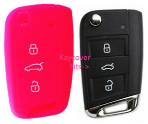 Pink Silicone Car Flip Key Cover For Vw Volkswagen Mk7 Golf