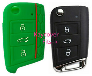 Green Half Silicone Car Flip Key Cover For Vw Volkswagen Mk7 Golf