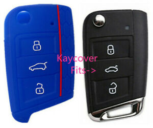 Blue Half Silicone Car Flip Key Cover For Vw Volkswagen Mk7 Golf