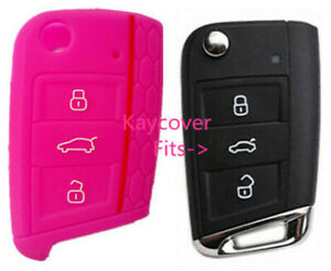 Pink Half Silicone Car Flip Key Cover For Vw Volkswagen Mk7 Golf