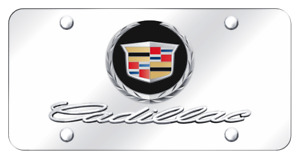 Cadillac New Dual Logo Mirror Polished Chrome License Plate Official Licensed