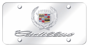 Cadillac Dual Chrome Logo Mirror Polished Chrome License Plate Official Licensed