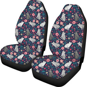 Blue Floral Cat Women Car Seat Covers For Girls Front Seat Only Full Set Of 2pc