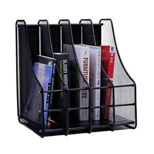 Metal File Holder Magazine Book File Organizer Stand Rack Office Anti rust 4slot