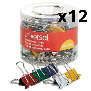 Binder Clips In Dispenser Tub Small Assorted Colors 40 pack Pack Of 12