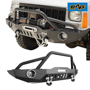 Eag Front Bumper W Led Lights Winch Plate Fit 84 01 Jeep Cherokee Xj