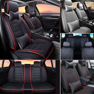 Deluxe Pu Leather Car Seat Cover Protector Front rear Cushion 5 seats All Season