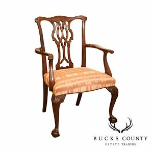 Baker Mahogany Chippendale Style Ball Claw Armchair
