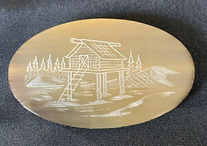Vintage Carved Whale Baleen Scrimshaw Brooch Pin Eskimo House Etching 2