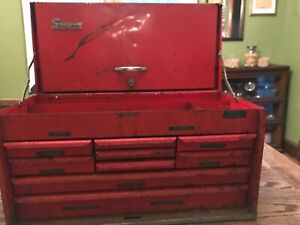 Vtg Snap On Tools Kra 58b 9 Nine Drawer Red Tool Chest Box Cabinet 1968 Usa