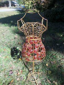 Vintage Red Beaded Wire Metal Dress Form Mid Century Missing 2 Beads But Nice