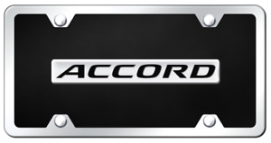 Honda Accord Logo Black Acrylic License Plate And Frame Kit Official Licensed