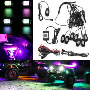 8pcs Pod Neon Led Rock Light Kit Bluetooth App Underglow For Offroad Car Us Fast