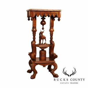 Black Forest Style Antique Carved Walnut Marble Top Pedestal Table