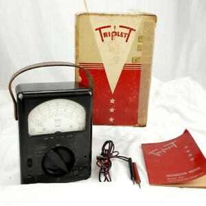 Triplett Model 630 Volt ohm ammeter W Box Manual original bakelite
