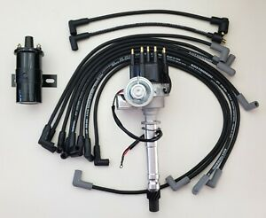Chevy 350 Small Hei Distributor 45k Coil Black 8 5mm Wires Over Valve Cover