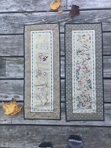 2 Chinese Silk Embroidery Panels Vintage 20th Century