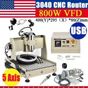Cnc Router 5 Axis Usb 3040 Engraving Mill Engraver Machine Metal Wood Cut 800w