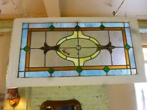 Antique Stained Glass Transom Beveled Glass Window Center Jewels 2 Cleaned