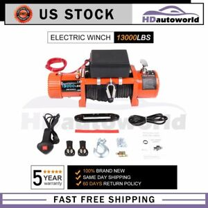 Electric Winch 13000lb Recovery Synthetic Off Road 12v With Wireless Remote