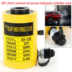 Manual Oil Pump 44000lbs 20t Hydraulic Cylinder Jack Hollow Hole Plunger Ram Usa