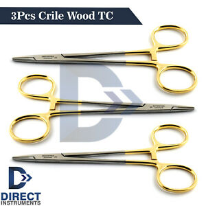 3 Pieces Surgical Crile Wood Needle Holder Forceps Tc Serrated Suture Veterinary