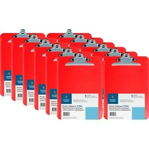 Business Source Spring Clip Plastic Clipboard Spring Clip Plastic Red 12