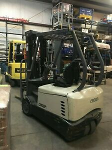 2013 Crown Sc5245 35 3 Wheeler Electric Forklift Full A c counter Balance Lift
