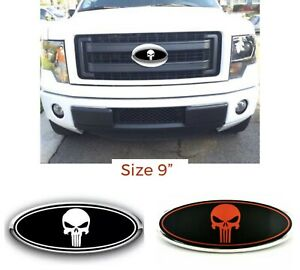 9 Inch The Punisher Front Grille Hood Oval Emblem Nameplate Fits Ford F150 Us