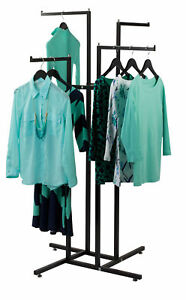 Clothing Rack 4 Way Straight Arms Black Clothes Adjustable Garment Retail 4 way