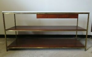 Paul Mccobb Calvin Walnut Brass Vitrolite Glass Console Table Mid Century
