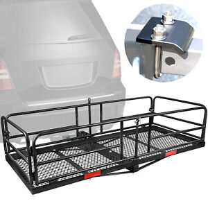 59 L X 24 W X 14 Hitch Mount Cargo Carrier With High Side Hitch Tightener