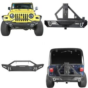 Front Bumper Rear Bumper Bar W Tire Carrier For Jeep Tj 1997 2006 Wrangler