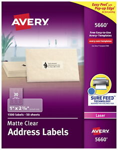Avery Easy Peel Permanent adhesive Address Labels For Laser Printers 1 X 2 5 8